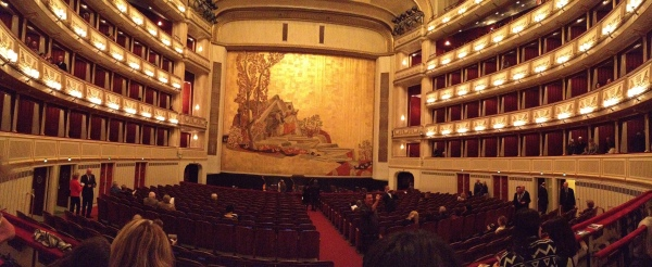Getting ready to watch the opera