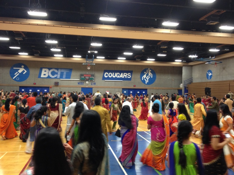 Part of Navaratri Festival. Everyone dancing garba - dancing by clapping hands