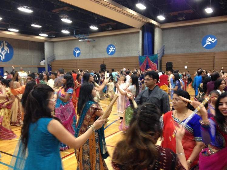 Part of Navaratri Festival. Everyone dancing dandiya - dancing with sticks